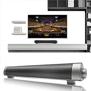 Elecsoul 10W (5Wx2) Bluetooth Soundbar 3.0 Channel Stereo Subwoofer Speaker Wireless Super Bass Small TV Sound Bar with Passive Radiators Support 3.5 AUX, TF Card,USB Input for Home Theater Silver