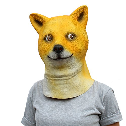 CreepyParty Deluxe Novelty Halloween Costume Party Latex Animal Doge Head Mask ... (Shiba Dog)