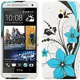 kwmobile® TPU Silikon Case mit Blumen-Design für HTC One Mini M4 in Weiß Hellblau etc. - Stylisches Designer Case aus hochwertigem weichem TPU