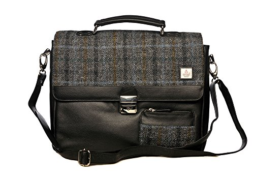 Luxury Black Leather and Authentic Tartan Check Seal Grey Harris Tweed Messenger Bag