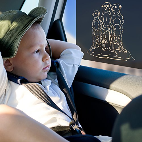 Car Sun Shades by Just-f-Care - Friendly ZOO Animals Edition - Protects Kids from Harmful UV Rays - Static Cling Self Adhere - Easy To Install - doesn´t Block the View - Able to Roll the Window - Nice Gift - 2 Pack - 100% Money Back Guarantee