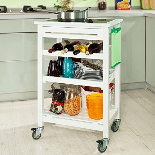 SoBuy® Carrello di servizio, carrello da cucina, Legno e vetro temperato , FKW16-G-W, (L58*L40*A90cm).IT