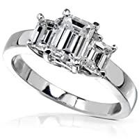 1 1/4 Carat TW IGI Certified Three Stone Emerald-Cut Diamond Engagement Ring in 14k White Gold