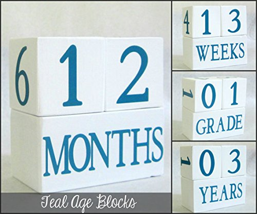 Baby Age Blocks: Shower Gift, Photo Prop & Nursery Decoration - Teal Age Blocks front-140458