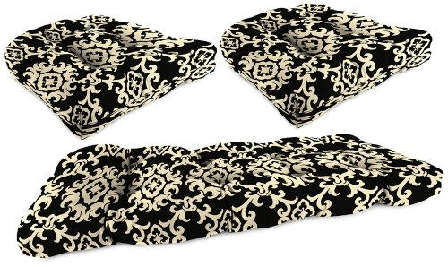 Set of 3 Black Tan Grape II Outdoor Wicker Seat Cushions picture