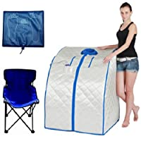 DURHERM DIF-202 IR FAR Infrared Indoor Portable Foldable Sauna with Heating Food Pad and Chair