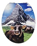 Acquista Wenko 21366100 - Tavoletta per WC in acrilico lucido, soggetto: mucca e montagna, chiusura rallentata automatica, coperchio 38 x 45 cm, anello esterno 37 x 43,5 cm, apertura 37 x 43,5 cm, distanza montaggio 11- 20,5 cm