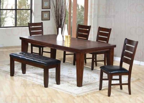 Dining Table with Ladder Design Top Dark Oak Finish