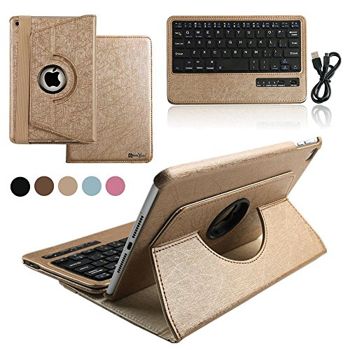 iPad Air 2 Keyboard Case, BoriYuan 360 Degree Rotating Detachable Wireless Bluetooth Keyboard Folio Stand PU Leather Cover for Apple iPad Air 2+Screen Protector+Stylus, Gold (Ipad Air 2 Case With Keyboard compare prices)