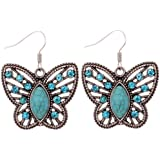 Yazilind Tibetan Silver Hollow Butterfly Carve Blue Crystal Waterdrop Turquoise Dangle Earrings