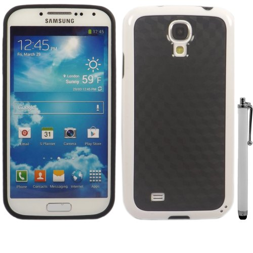 Cube Carbon Gel Fall Decken Haut Und Large Kapazitive Stylus Pen Für Samsung Galaxy S4 i9500 / Black Cube Carbon White Bumper
