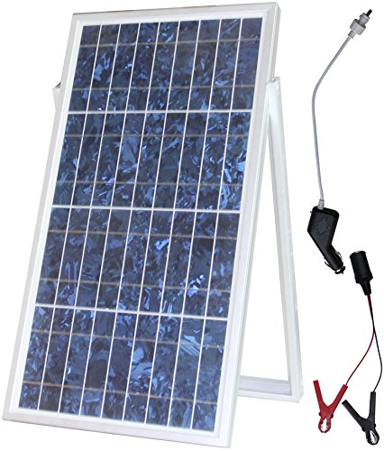 MicroSolar - 30w Solar Charger Kit // Plug & Play// Solar Charge Contoller Included - 18 Feet Wire - Optional 16.4 feet extension wire // Include Cigarette Plug with Fuse & Alligator Clips Wire (12 Volt Battery Solar Charger compare prices)