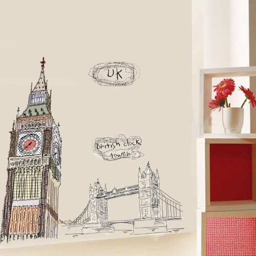 Modern House London Big Ben and Tower Bridge removable Vinyl Mural Art Wall Sticker Decal