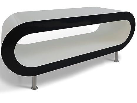 Lustre Blanco Con Lados Negros Aro Puesto de Café Mesa / TV en Varios Tamaños