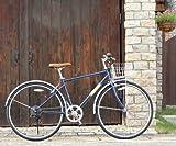 27インチ クロスバイク シマノ6段変速ギア カゴ・カギ・LEDライト付 ATB TOPONE トップワンMCR276-29-NV ネイビー