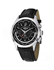 Vulcain Aviator GMT Men's Black Leather Strap Mechanical Alarm Watch 100108.142LF