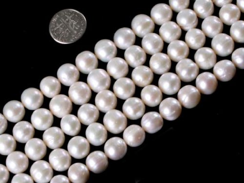 Sweet & Happy Girl'S Store 10-11mm White Color Natural Freshwater Pearl Beads Strand 15