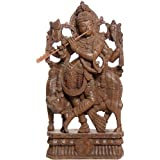 Exotic India Shri Krishna With His Cow - South Indian Temple Wood Carving