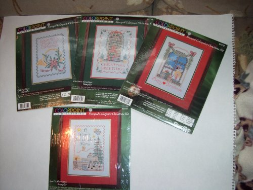 BUCILLA Colorpoint Paintstitching *Merry Christmas* Sampler Kit #37,38,39,40