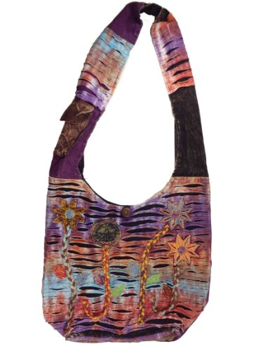 Recycled Hippie Flower Patch Razorcut Crossbody Purse Fair Trade Nepal By Ragged Ends
