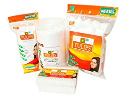 Tulips Combo Pack of Cotton Balls,Buds, Pads and Cotton Rolls (Pack of 4)