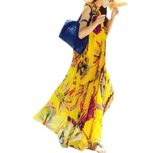 Pandella Women's Yellow Print Silk Chiffon High Neck Maxi Dress (One Size)