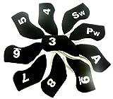 G4 選べるカラー 両面 番手プリント アイアンカバー 10個 セット アイアン クラブ 保護カバー メンズ レディース (ブラック・グレー)