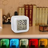 Cube Light Cube Digital LED 7 Colour Changing Alarm Clock with Natural Sounds(White, 3xAAA)