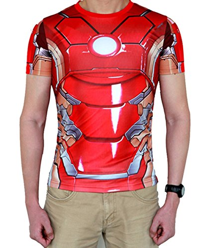 Madhero -  T-shirt - Collo a U  - Uomo Red Iron Man Large