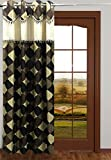 Homefab India Designer Checks Brown Door Curtain (HF058) 7X4ft(1 pc Curtain)