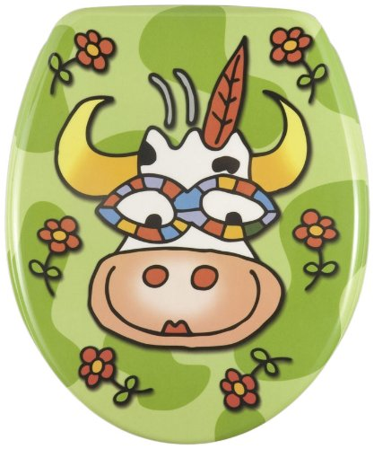Wenko-17616100-Thermoset-Plastic-Toilet-Seat-Crazy-Cow