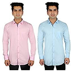 Nimegh Pink, Sky Blue Color Cotton Casual Slim fit Shirt For men's (Pack of 2)