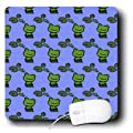 3dRose LLC 8 x 8 x 0.25 Inches Mouse Pad, Green Frogs and Lily Pads on Blue (mp_36003_1)