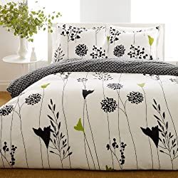 Perry Ellis Asian Lily Cotton Comforter Set, Full/Queen