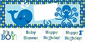 Creative Converting Ocean Preppy Boy Giant Birthday Party Banner with Stickers by Creative Converting