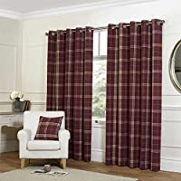 "Tartan Check Red 66x72"" 168x183cm Lined Wool Look & Feel Ring Top Curtains Drapes by Curtains"
