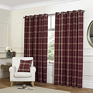 """Tartan Check Red 90x90"""" 229x229cm Lined Wool Look & Feel Ring Top Curtains Drapes from Curtains"""