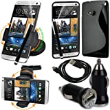 BAAS HTC One M7 (2013 Model) - Support Voiture Ventouse pour Fixation sur Pare Brise Avec 360  Degr rotation fonction+ noir Housse Etui en Silicone Gel + Micro USB cble de donnes + USB voiture chargeur Adaptateur + Films de protection cran + Stylet