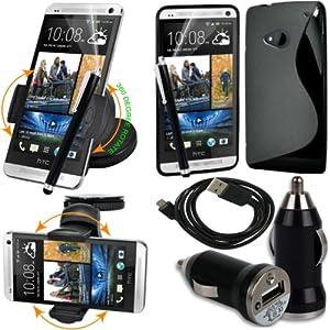 BAAS® HTC One M7 (2013 Model) - Support Voiture Ventouse pour Fixation sur Pare Brise Avec 360 ° Degré rotation fonction+ noir Housse Etui en Silicone Gel + Micro USB câble de données + USB voiture chargeur Adaptateur + Films de protection écran + Stylet