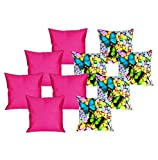 meSleep 5 Pc Butterfly Digital Cushion Cover and 5 Pc Pink Quilted Cushion Cover