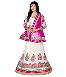 Manvaa Women Net Lehenga Choli(White_ASNB2116white_Free Size)