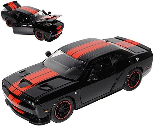 dodge-challenger-srt-hellcat-lc-coupe-schwarz-rot-streifen-ab-2008-1-24-jada-modell-auto-mit-individ