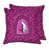 House This Darbaar-Peacock Purple Set Of 2 Cushion Covers- 16 X 16