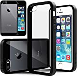 Caseology Apple iPhone 5/5S [Premium Fusion Series] - Slim Fit Hybrid Scratch-Resistant Clear back thin Cover with Shock Absorbent TPU Protector Bumper Case (Black) [Made in Korea] (for Verizon, AT&T Sprint, T-mobile, Unlocked)