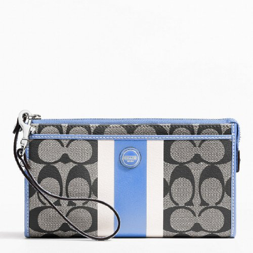 COACH SIS PVC Stripe Zippy Wallet / Wristlet in Black / White / Sky Blue 49078 Picture