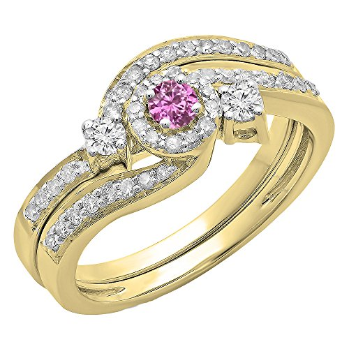 0.65 Carat (Ctw) 14K Yellow Gold Pink Sapphire & White Diamond Swirl Halo Engagement Ring Set (Size 7.5)