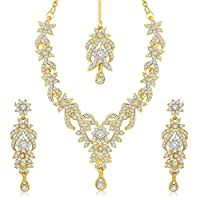 Sukkhi Golden Gold Plated Australian Diamond Stone Choker Necklace With Drop Earrring & Mangtikka Set For Women