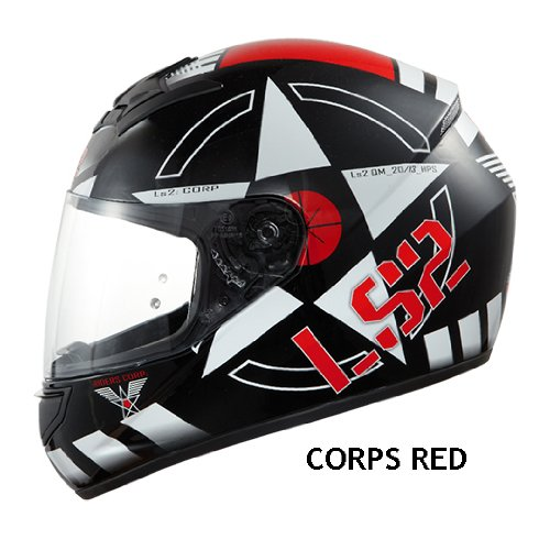 LS2 FF351 CORPS FULL FACE MOTORCYCLE MOTORBIKE HELMET RED LARGE