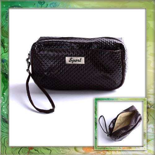 Coffee PU Leather Portable Lady Cosmetic MAKEUP Zipper Hand Strap Case Bag B0322B0322