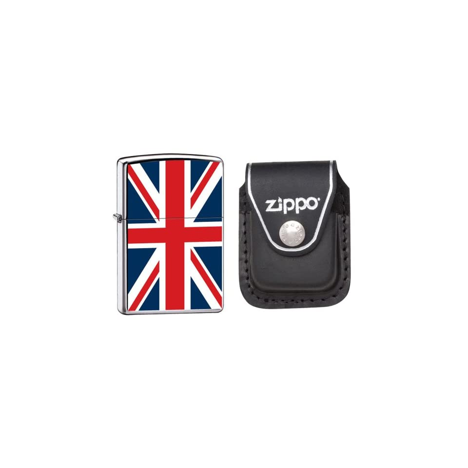 Zippo 7961 Classic High Polish Chrome United Kingdom Flag Windproof Lighter with Zippo Black Leather Clip Pouch
